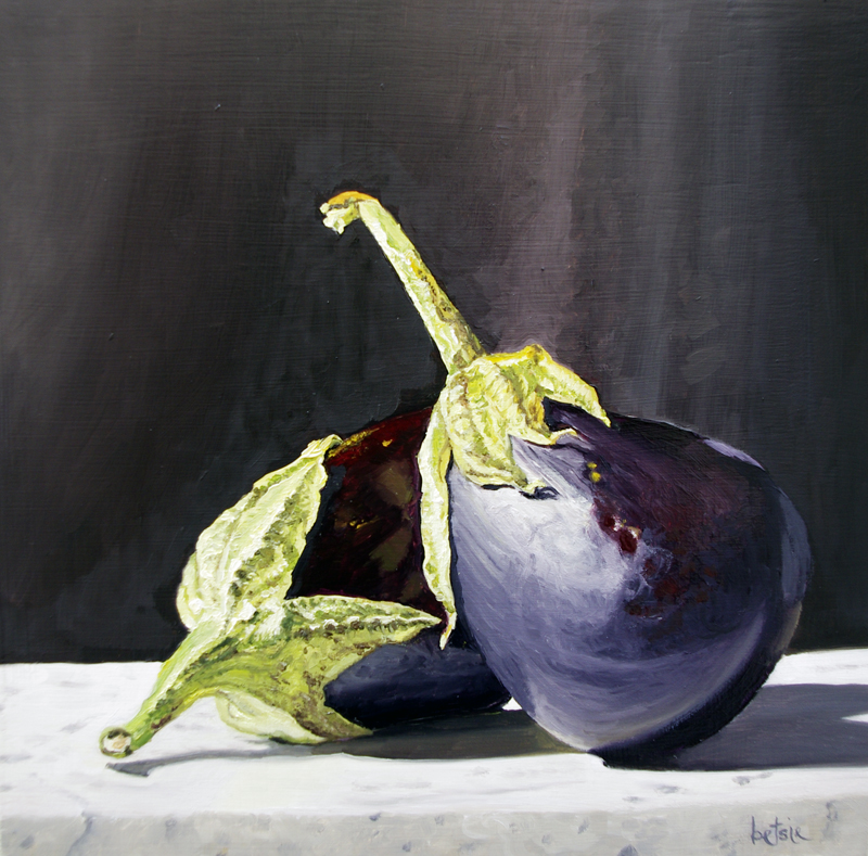 "Be Still Like Vegetables | oil on panel | 8""x8"""
