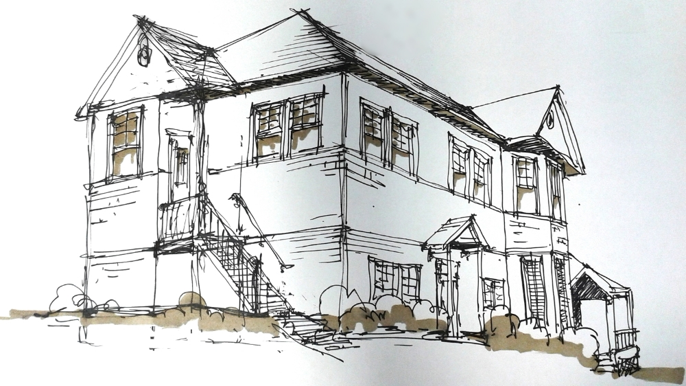 Our principal, Barnaby Evans, created a quick sketch of an existing historic home now used for commercial purposes. He will use this sketch when remodeling with the owner and negotiating changes with the city.
