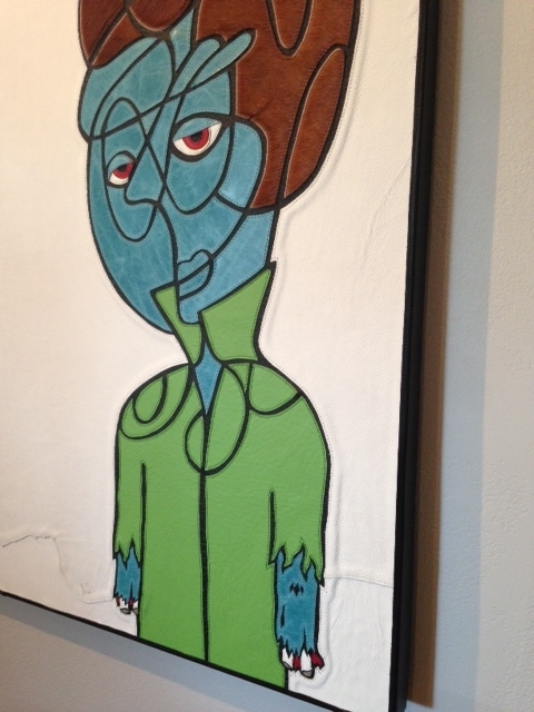 Zombie Creep.  36 x 48 x 2.  Framed in black leather.  August 2015