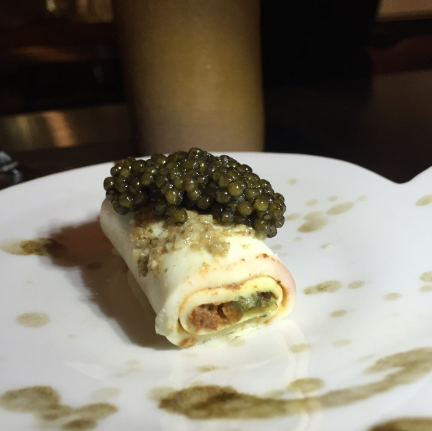 Egg White Omelet with Sikil Pak and caviar.