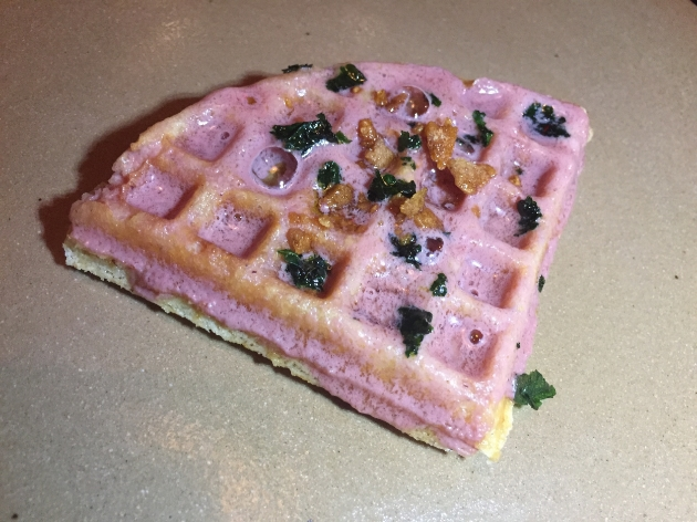 Masa Waffle with Chicken Liver Butter.