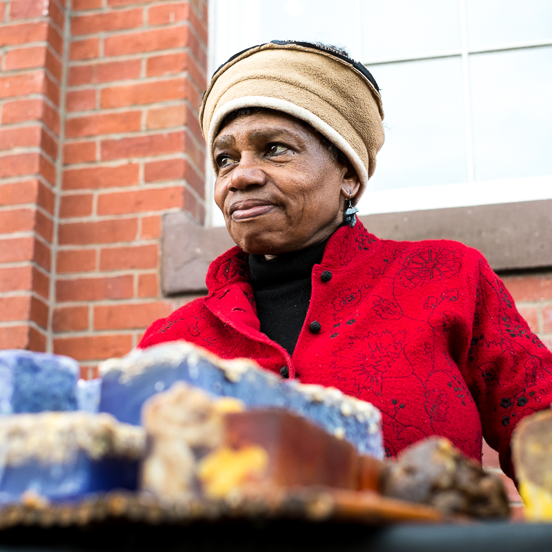 Olivia sells hand-made artisanal soaps in Washington DC. Visit her at Eastern Market on Saturdays.  http://www.peacockbotanicals.com.  1/340@f3.2, +2/3EV, ISO 800