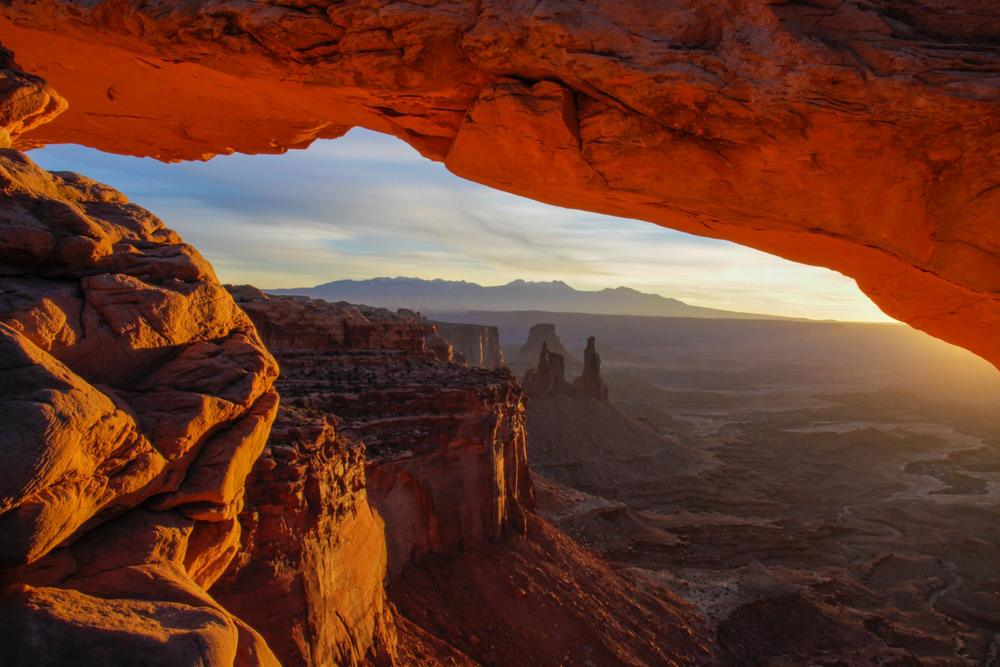 Sunrise at The Mesa in Canyonlands National Park near Moab, Utah.