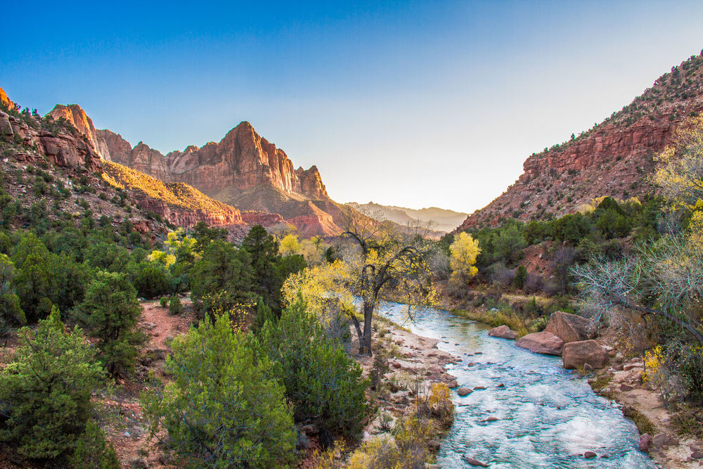 The Virgin River headed southward near the southern entrance in Zion National Park