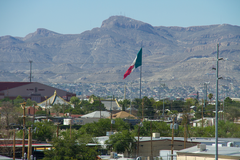 The view of Juarez, Mexico from I-10.  I thought this was still El Paso because there is no distinguishable wall or marking to differentiate it from Mexico.