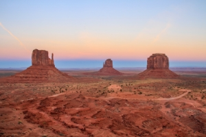 Monument Valley as seen from the observation deck at The View.  Photo taken at dusk.