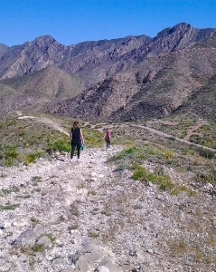 Hikers enjoy a view of the Franklin Mountains as they make their descent from the Upper Trail.