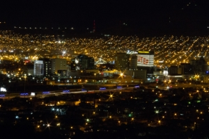 Downtown El Paso as it appears at night from the Scenic Drive Lookout.