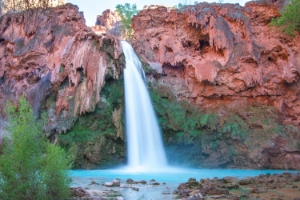 "Beautiful Havasu Falls gets its color from dense minerals in the water. ""Havasupai"" means ""people of the green-blue water""."