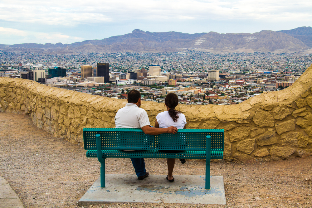 A couple enjoying the view along Scenic Drive in El Paso, Texas.