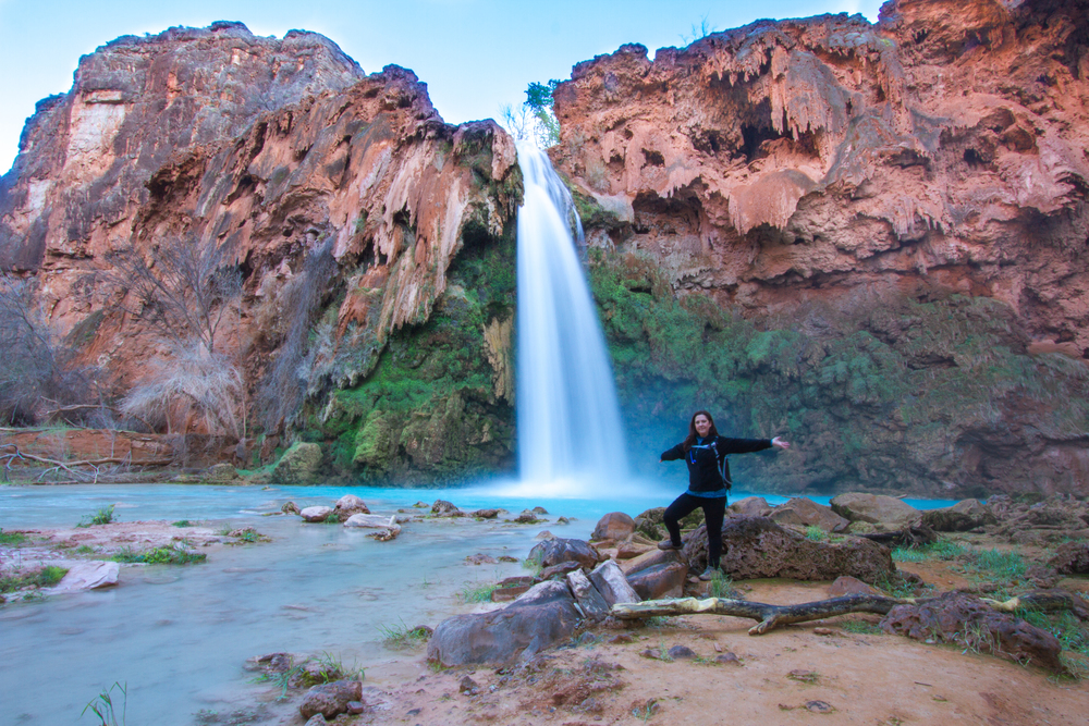 The water temperature at Havasu Falls is supposed to be 70 degrees fahrenheit year round, but in winter it can be too cold to swim in.  As was the case in the 1st week of March...