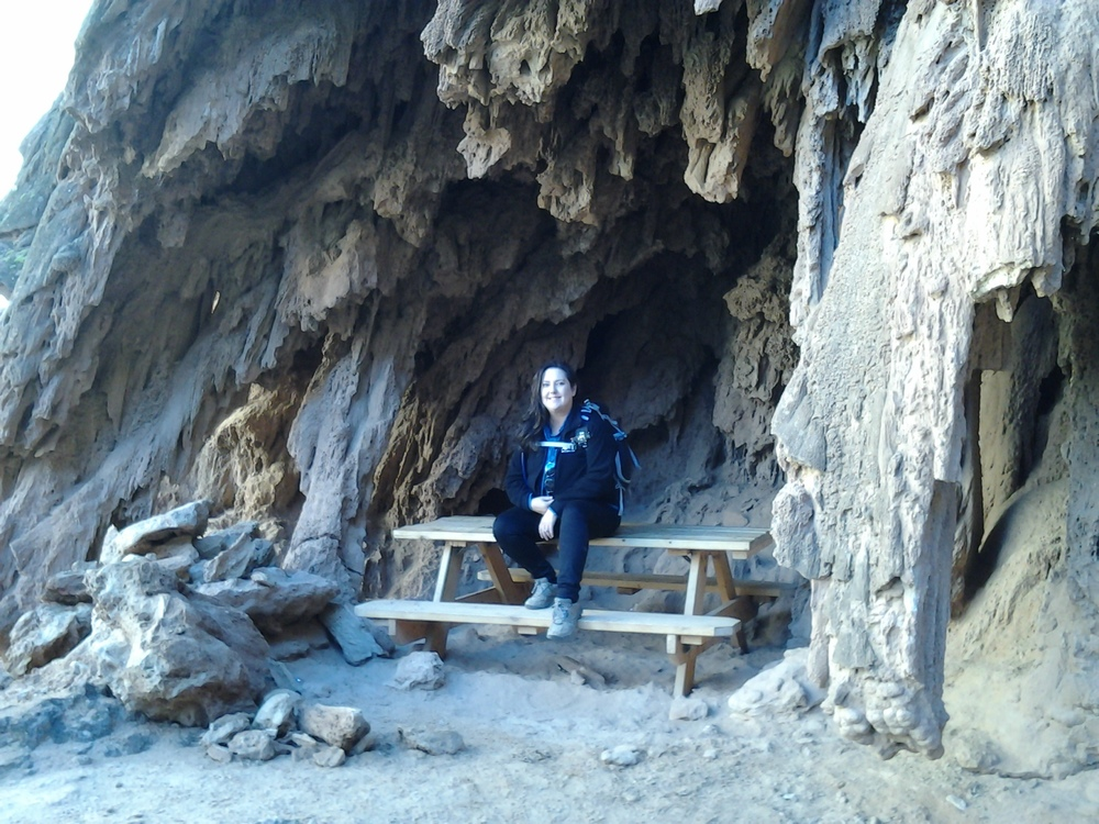 There's a picnic table in one of the caves after the 1st descent at Mooney falls... clearly this used to be under a waterfall., too.