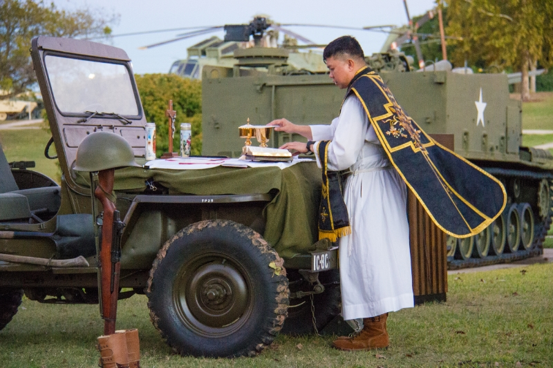 Fr. Lito Amande, U.S. Army Chaplain for USA-Garrison Fort Hood, TX, offers a Traditional Latin Requiem Mass on All Souls Day on 2 November in honor of Fr. Elim Kapaun for the faithful departed.