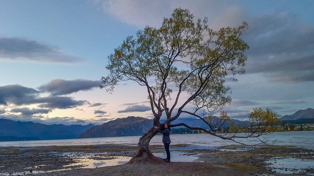 Hugging my friend in Lake Wanaka...
