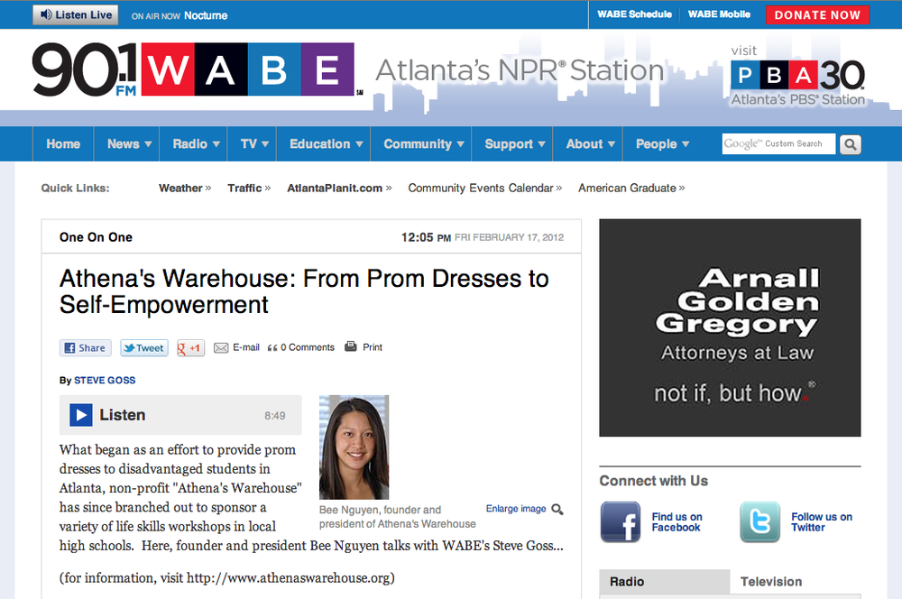 WABE Morning Edition With Steve Goss, Feb 2012   Athena's Warehouse: From Prom Dresses to Empowerment