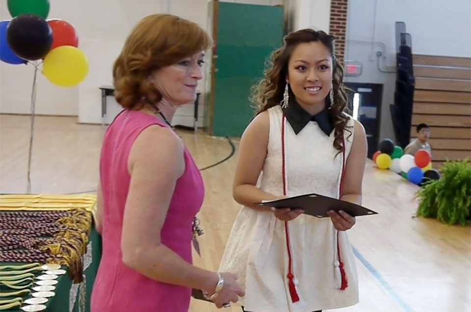 Brenda receiving her Empowerment Scholarship at Cross Keys Honors Night