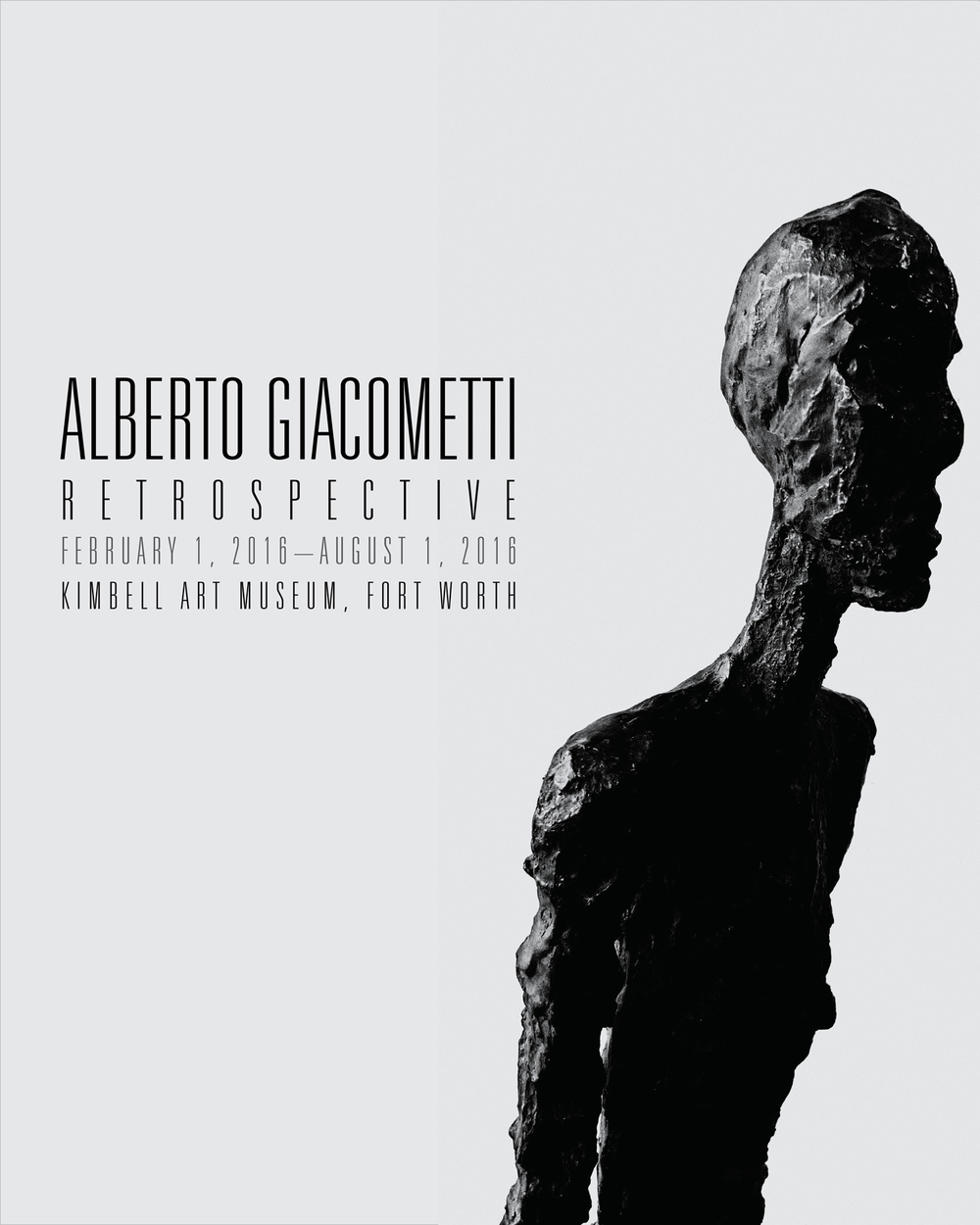 A poster project for a fictional Giacometti retrospective.