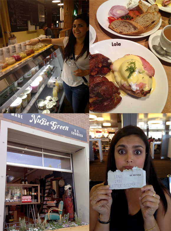 From top left: Britt's Pickles at Pike Place Market, Eggs Benedict at Lola, NuBe Green's charming window, and me, waiting at the airport for my little sis.