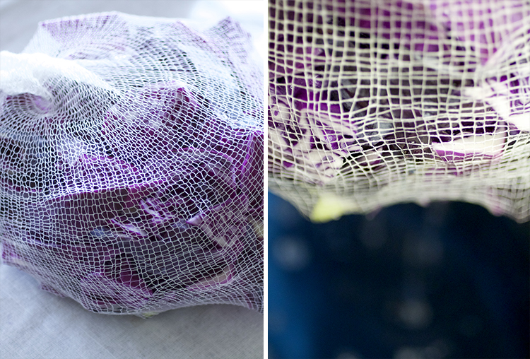 Here's a snapshot of making the red cabbage dye.  This cheesecloth bag made filtering super easy!