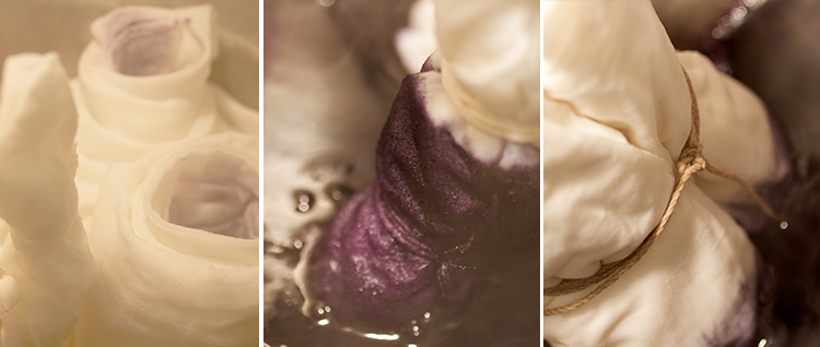In the pot!  These are snaps of the red cabbage, logwood, and beet dyes.