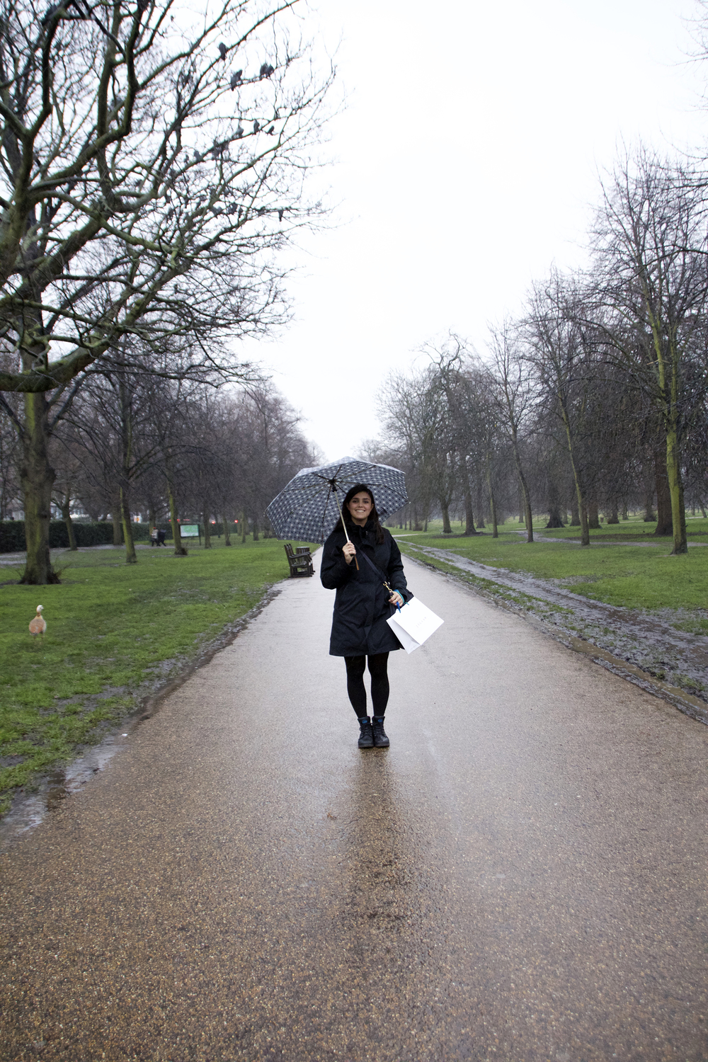 Enjoying a rainy walk through Kensington Gardens (and totes love my duck friend to the left).