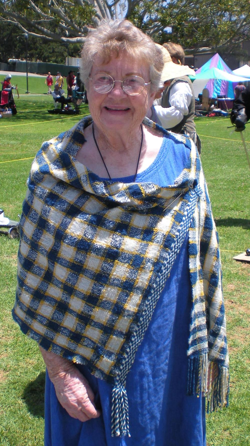Bjo modeling shawl.jpg