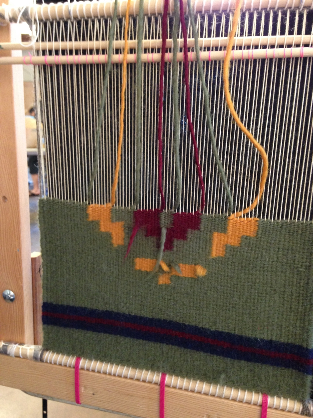 Weaving on a Navajo loom