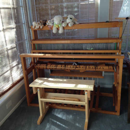 Note the light color of the new maple bench compared to golden tone of my 26 year old loom.