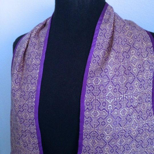 Hand dyed, handwoven stole in purple and gold - for Lent and Advent