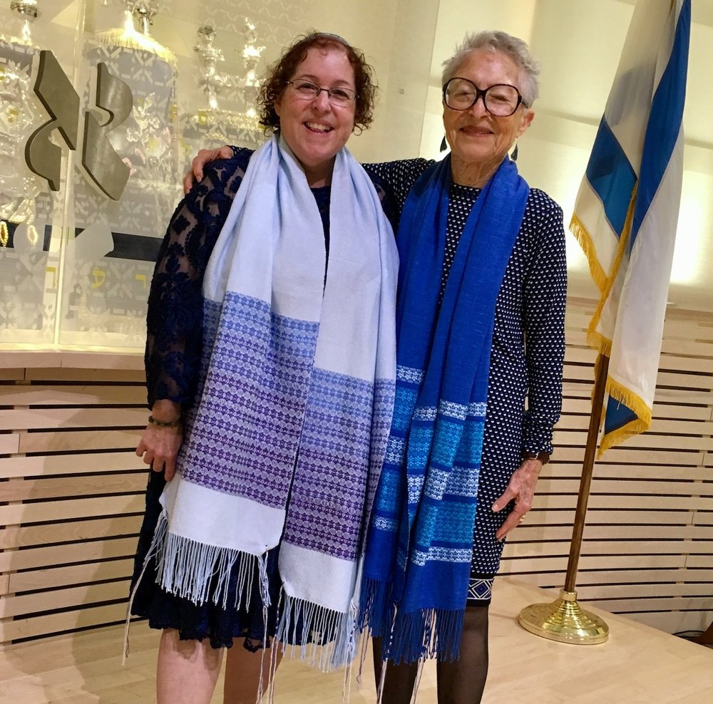 Laurie and Lillian celebrate their B'Nai Mitzvah with new handwoven tallitot.