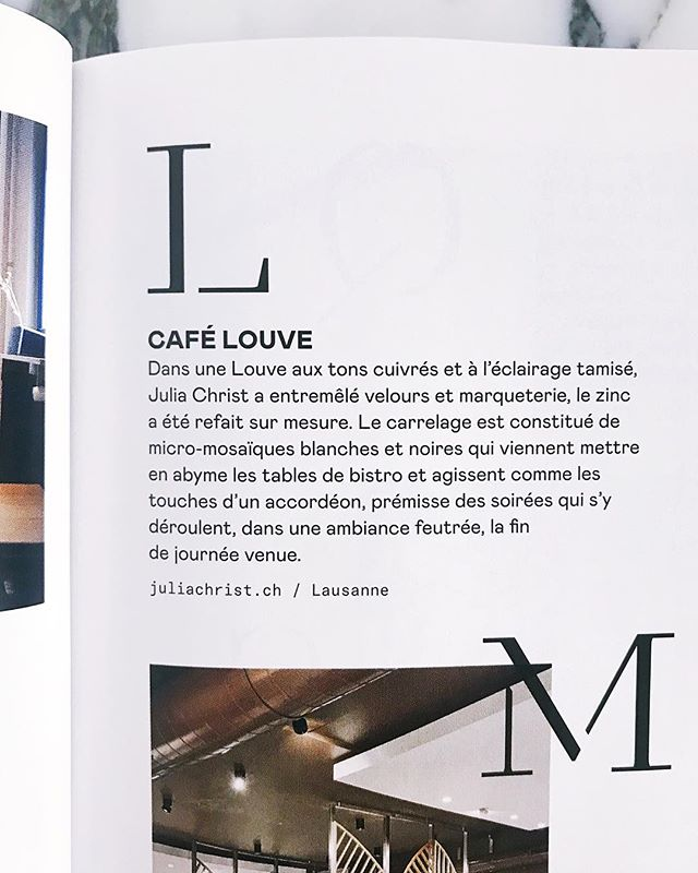 Thank you @espaces_contemporains for featuring @cafelouve « De A à Z des cafés romands qui conjuguent du beau et du bon » Great way to start the week ☺️ 🚀💥🍾 . . . #cafelouve #studiojuliachrist #lausannebar #lausanne #mylausanne #bardesign #restaurantdesign #architecture #interiorarchitecture #interiordesign #aubergedebeaulieu #colours #art #branding #design #designer #architecture #hospitality #hospitalitydesign #bar #restaurant