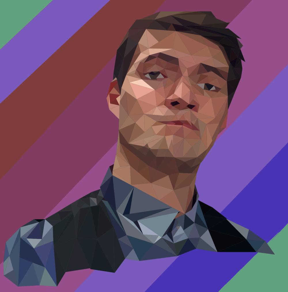 Un autoportrait d'Arnaud Garnier, élève de 2° année réalisé sous Illustrator en Low Polygon.