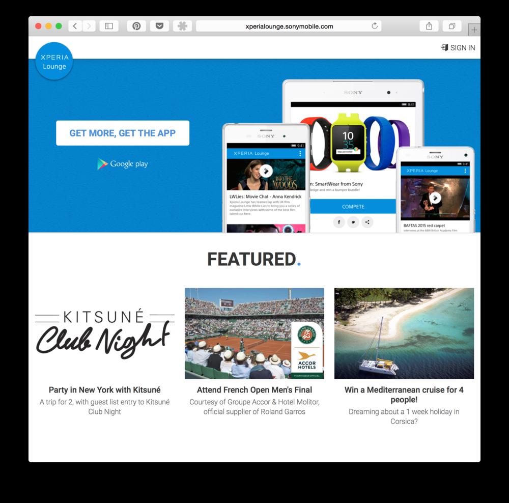 SONY Xperia Lounge Web UI