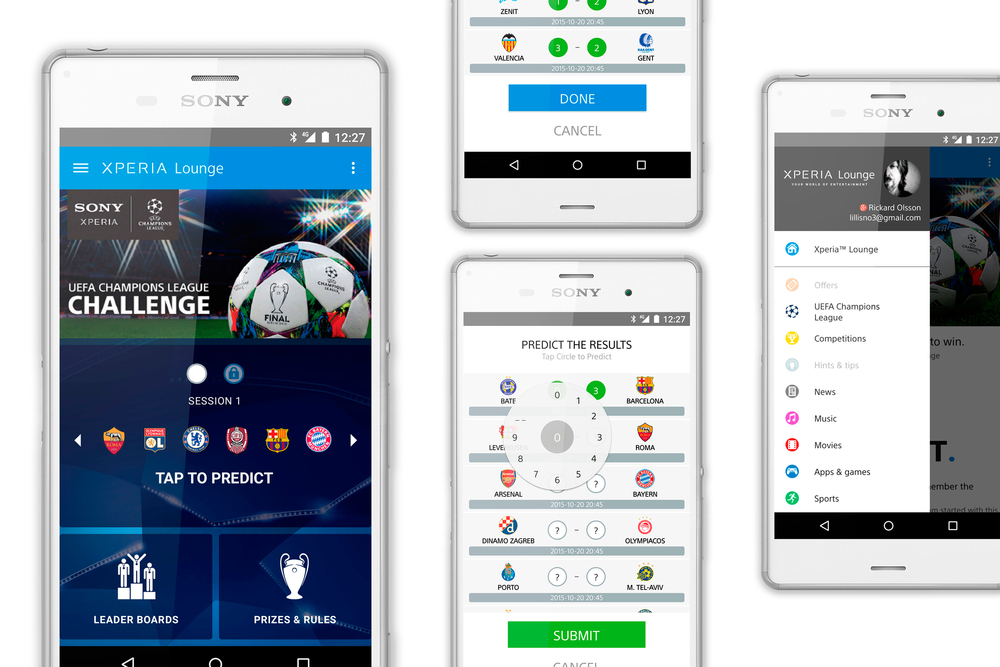 SONY Xperia Lounge UEFA Champions League App Design
