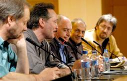 Exposición Colectiva sobre el Capitán Trueno. 2006. De izquierda a derecha: Pepe Gálvez, Alfonso López, Luis Gasca, J. M. Benet i Jornet y Joaquim Noguero, comisario de la exposición.