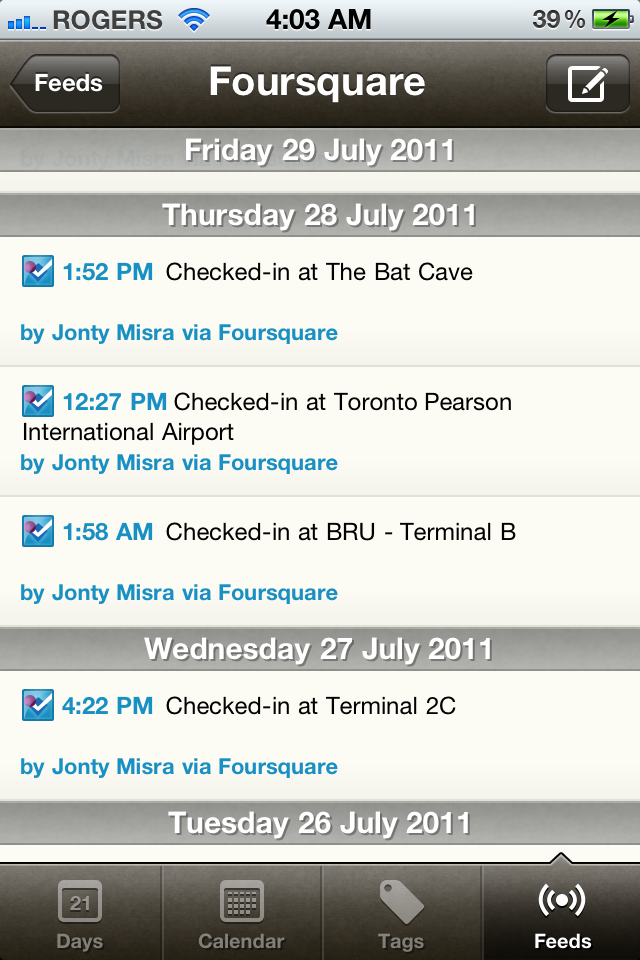 Foursquare check-ins at the Airports
