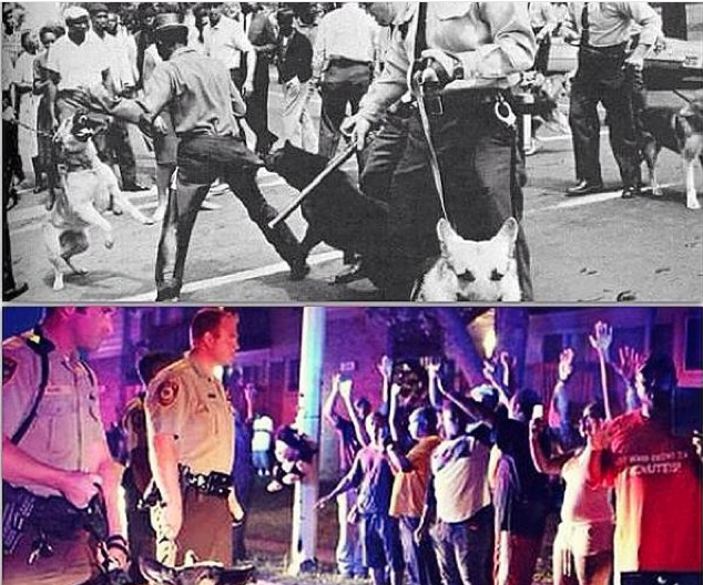 Twitter user Mark Bailey posted images of Ferguson eerily similar to those from half a century ago. Image from Policy Mic.