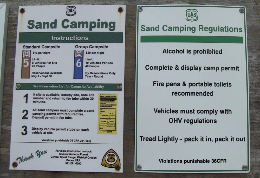 Camping info is located at the last day use area on Salmon Harbor Drive.