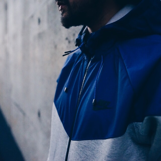 Grey/Blue Tech Windrunner Hoodie