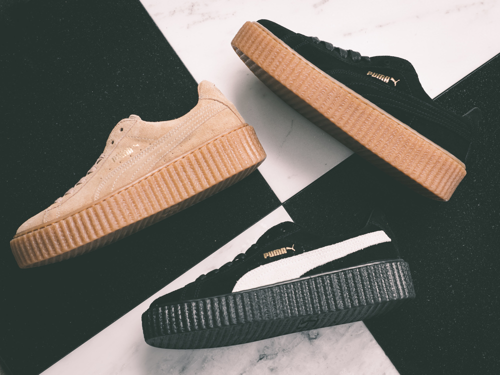 puma by rihanna creepers sneakers flat lay
