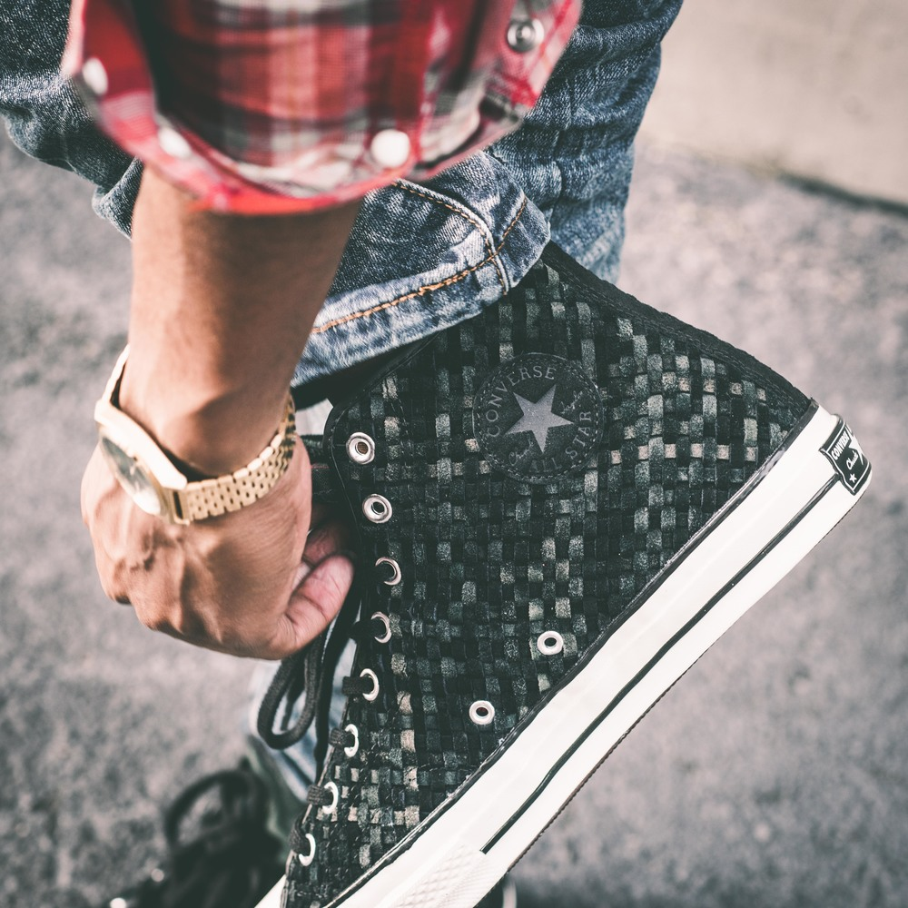 Converse has re-designed the original Chuck Taylor All Star Hi from the 70 s  and added modern details with a vintage touch. A woven black leather upper  ... b8ae7296b