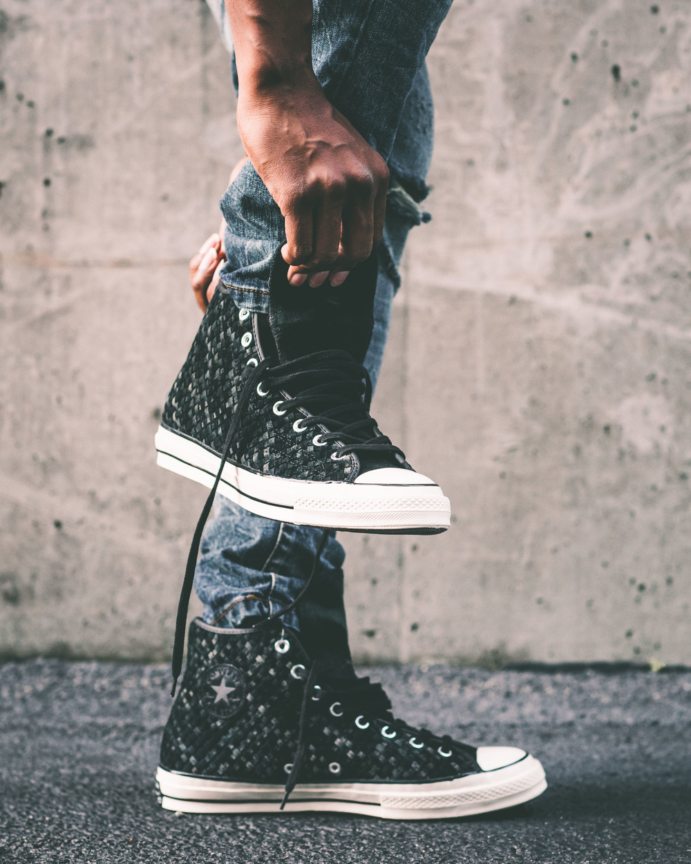 2ef0aafe778c Converse has re-designed the original Chuck Taylor All Star Hi from the 70 s  and added modern details with a vintage touch. A woven black leather upper  ...