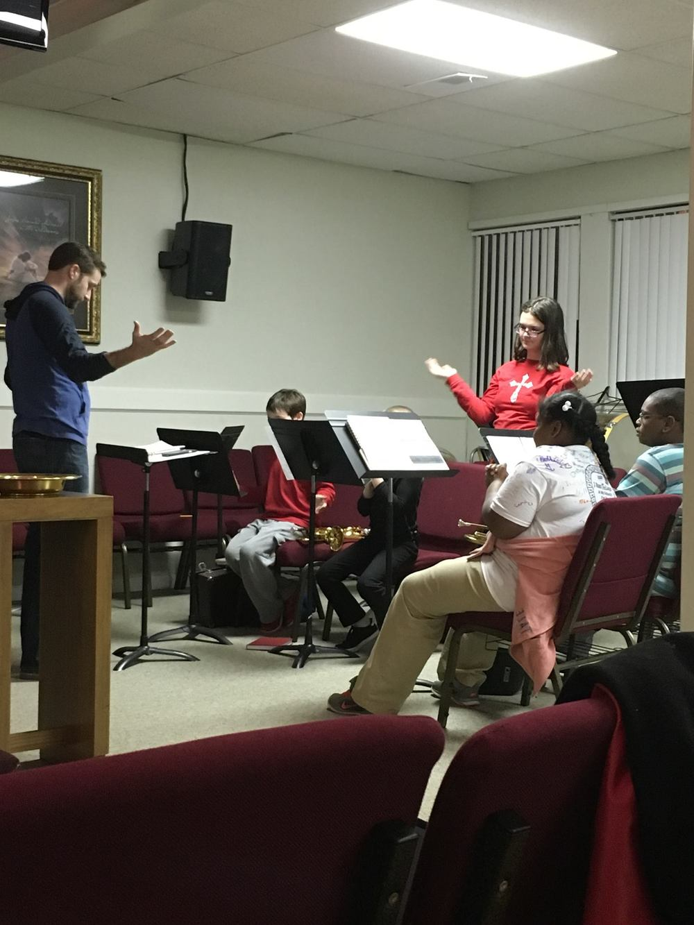 Jeff Robbins is training the next generation of musicians at the North Little Rock Corps! Their beginner band is going strong.  Photo Credit: Emily Robbins