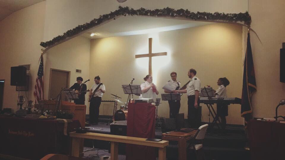 The Divisional Youth Praise Band prepares for the Saturday evening worship service in Stillwater, OK!