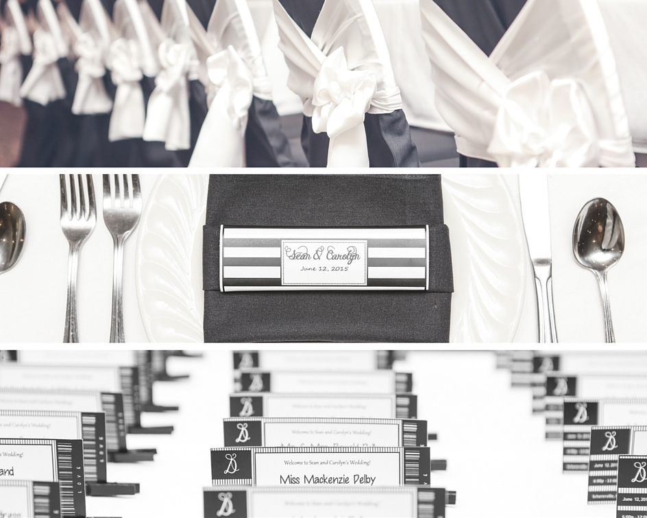 Their wedding favors were Fannie May chocolate bars wrapped in custom black and white striped wrappers created by Carolyn.