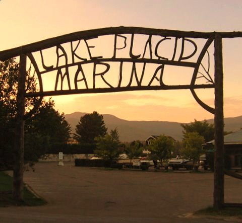 Lake Placid Marina twig signage