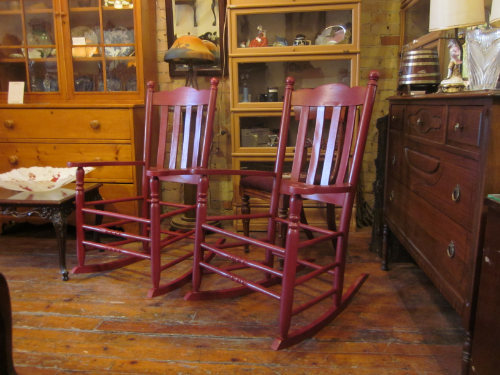 pair of painted rockers