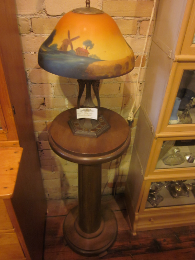 reverse painted table lamp and pedestal