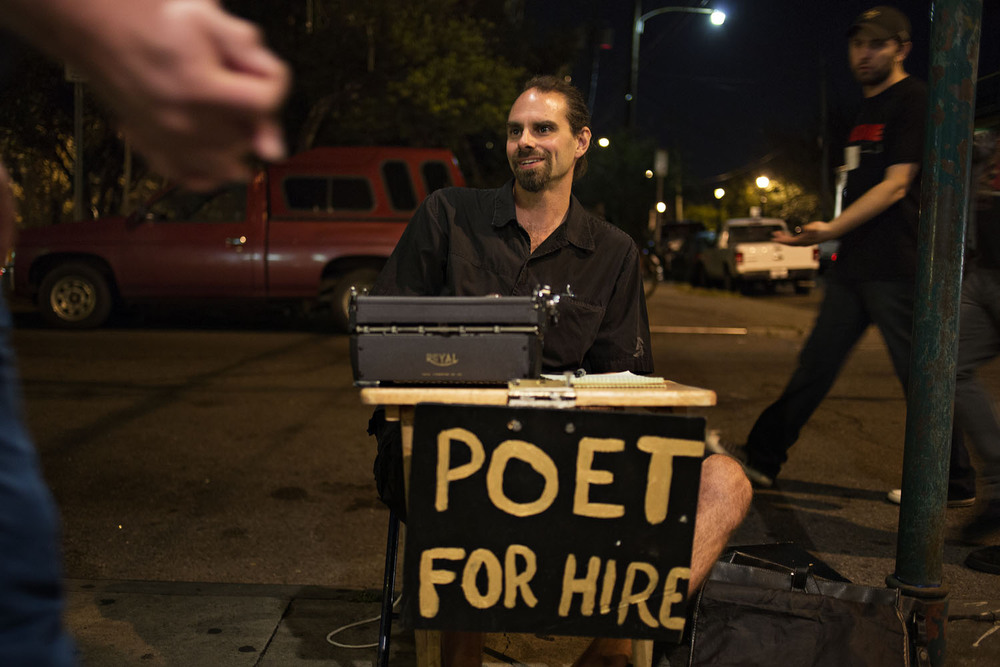 "HEATH STEVENS , Street poet, New Orleans, LA.  ""Do I believe in the American dream? Well, which one? America is a wacky place, full of power, full of corruption. I think about the American dream as some sort of post fifties Americana suburbs, white picked fences, wife staying home and taking downers and pain pills, and drinking to alleviate the boredom. Part of the American thing is that everyone is suuuuper busy all the time. So broken, so in debt, and you know that makes it difficult if that's not your state. Here in New Orleans it is a different dream. It's like a 19th century dream with steamboats, prostitutes and jazz. I guess I believe in that dream, I'm sort of living it, with its ups and downs though."""