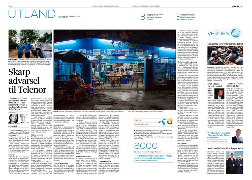 Bergens Tidende, 5. oktober 2014